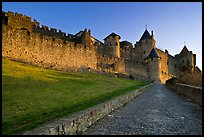 Path leading to old walled city. Carcassonne, France ( color)