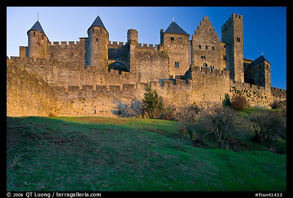 Fortified walls of the City. Carcassonne, France (color)