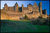 Fortified walls of the City. Carcassonne, France ( color)