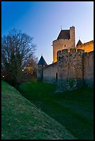 Fortifications at dusk. Carcassonne, France