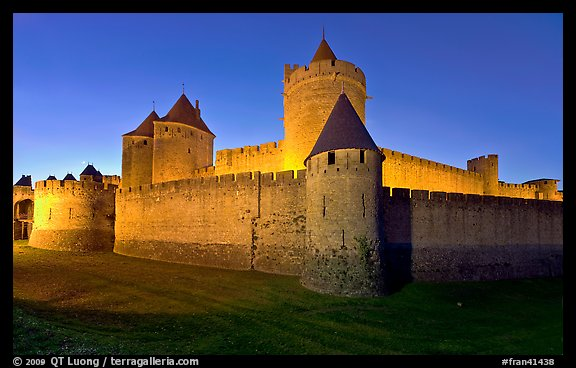 Rampart walls and stone towers. Carcassonne, France