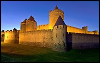Rampart walls and stone towers. Carcassonne, France (color)