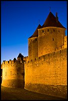 City fortifications by night. Carcassonne, France (color)