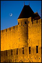 Ramparts and crescent moon. Carcassonne, France ( color)