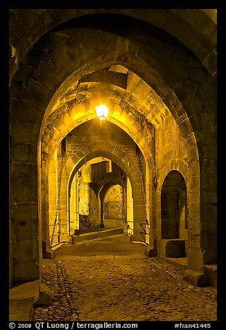 Main entrance of medieval city through drawbridge at night. Carcassonne, France