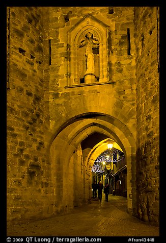 Porte Narbonaise gate by night. Carcassonne, France