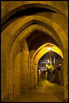 Rue Cros Mayerevielle through medieval Porte Narbornaise. Carcassonne, France (color)