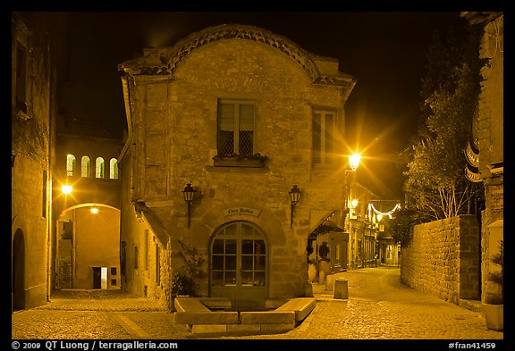 Stone buildings and streets at night. Carcassonne, France (color)