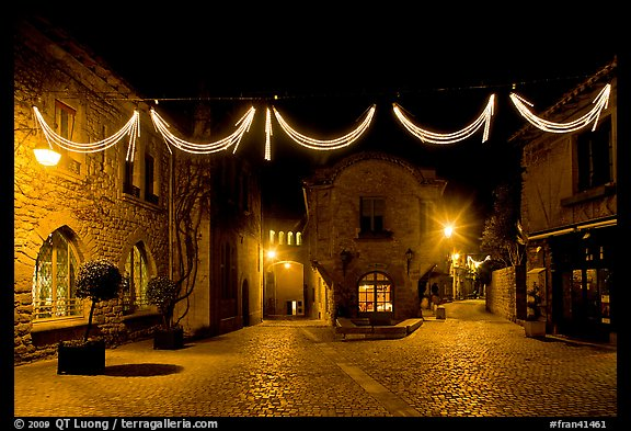 Place a Pierre Pont with Christmas decorations at night. Carcassonne, France (color)