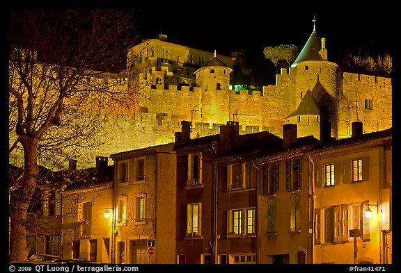 Houses and ramparts by night. Carcassonne, France (color)