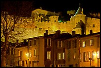 Houses and ramparts by night. Carcassonne, France
