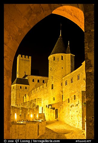 Medieval castle illuminated at night. Carcassonne, France (color)