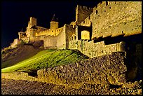 Fortress by night. Carcassonne, France ( color)