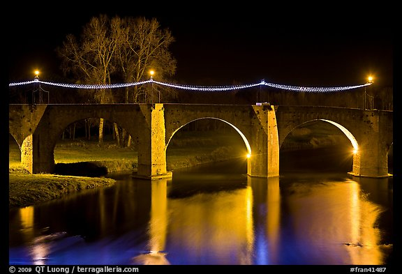 Pont Vieux illuminated by night with Christmas lights. Carcassonne, France (color)