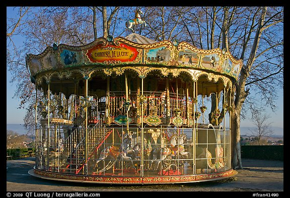 19th century merry-go-round. Carcassonne, France (color)