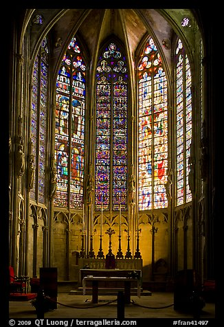 Altar and stained glass windows, Saint-Nazaire basilica. Carcassonne, France (color)