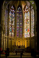 Altar and stained glass windows, Saint-Nazaire basilica. Carcassonne, France ( color)