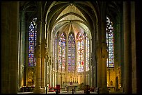 Interior and stained glass windows, basilique Saint-Nazaire. Carcassonne, France