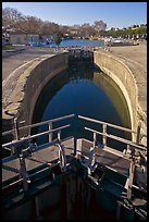Lock and basin, Canal du Midi. Carcassonne, France