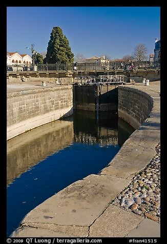 Lock and brige, Canal du Midi. Carcassonne, France (color)