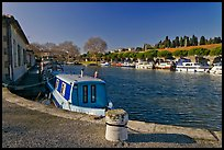 Basin with riverboats anchored, Canal du Midi. Carcassonne, France