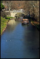 Ducks, barge and bridge, Canal du Midi. Carcassonne, France (color)