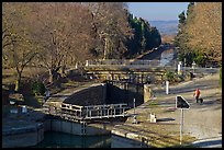 River navigation lock system, Canal du Midi. Carcassonne, France (color)