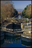 Lock chamber and gate, Canal du Midi. Carcassonne, France ( color)