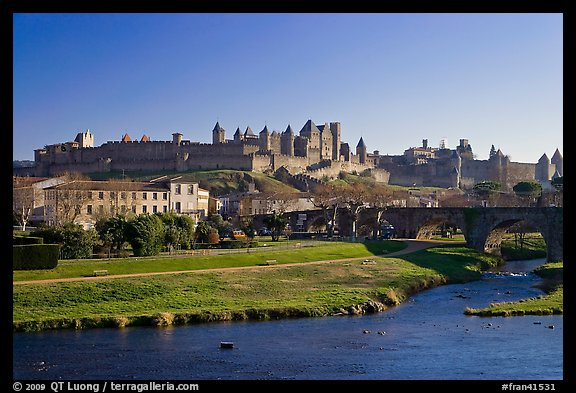 Aude River, Pont Vieux and medieval city. Carcassonne, France (color)