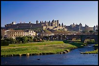 Aude River, Pont Vieux and medieval city. Carcassonne, France ( color)