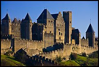 Castle and ramparts, medieval city. Carcassonne, France ( color)