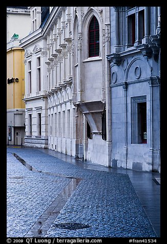 Pavement and buildings, Place St Andre. Grenoble, France (color)