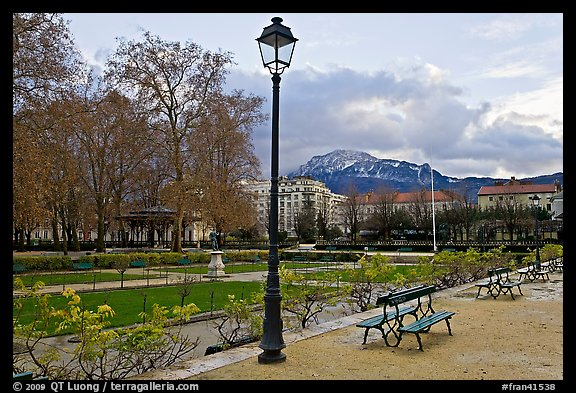 Public garden in winter. Grenoble, France