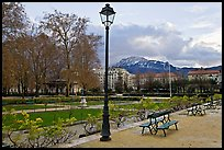 Public garden in winter. Grenoble, France ( color)