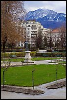 Public garden and snowy mountains. Grenoble, France ( color)
