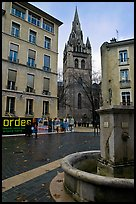 Fountain, square, and church. Grenoble, France ( color)