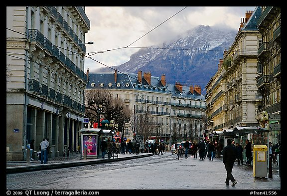 Downtown street on wintry day. Grenoble, France (color)