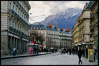 Downtown street on wintry day. Grenoble, France