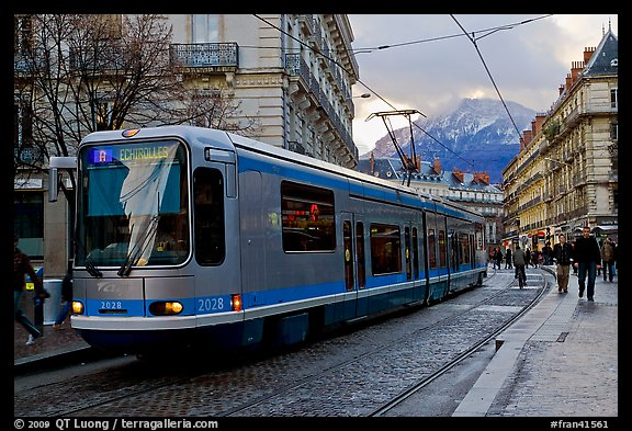 Electric Tramway on downtown street. Grenoble, France (color)
