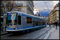 Electric Tramway on downtown street. Grenoble, France ( color)