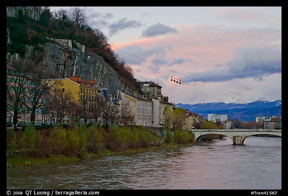 Isere River and cable-car at sunset. Grenoble, France