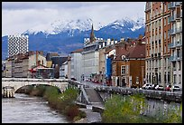 Isere riverbank and snowy mountains. Grenoble, France