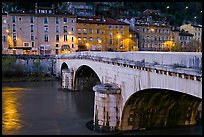 Pont de la Citadelle on the Isere River at dusk. Grenoble, France (color)
