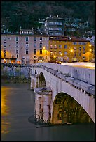 Pont de la Citadelle and old houses at dusk. Grenoble, France (color)