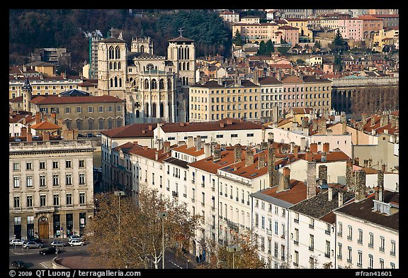 View of city and Saint Jean Cathedral. Lyon, France (color)