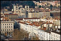 View of city and Saint Jean Cathedral. Lyon, France