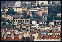 Old city on hillside. Lyon, France (color)