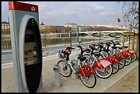 Bicycles for rent with automated kiosk checkout. Lyon, France