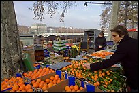 Fruit market on the banks of the Rhone River. Lyon, France