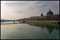 Rhone River and Hotel Dieu. Lyon, France